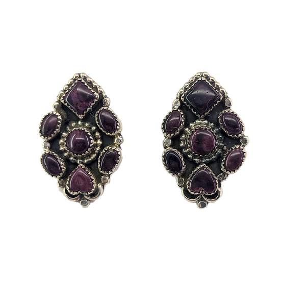 Sterling Silver and Purple Spiny Oyster Clip-on Earrings