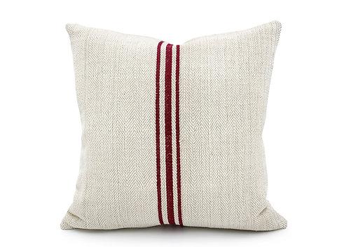 Vintage grain sack Three Burgundy red Stripes Pillow Cover