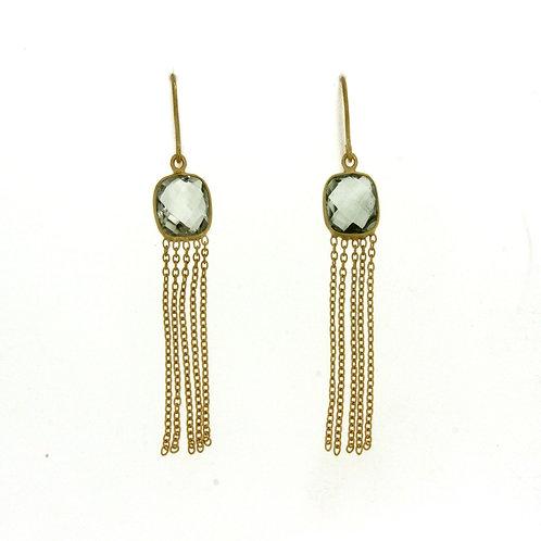 Natalia Fringe Earrings in Green Amethyst