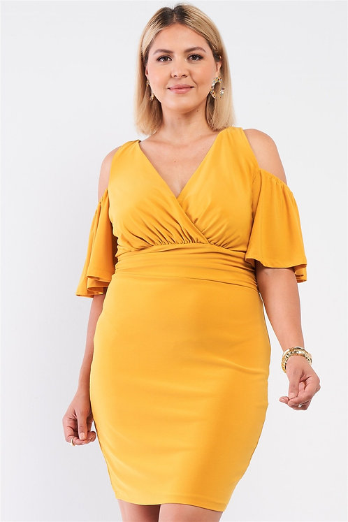 Plus Size Off-the-shoulder Plunging Wrap V-neck Fitted Mini Dress