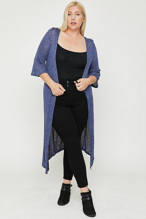 Plus Size Two Tone Knit Open Cardigan