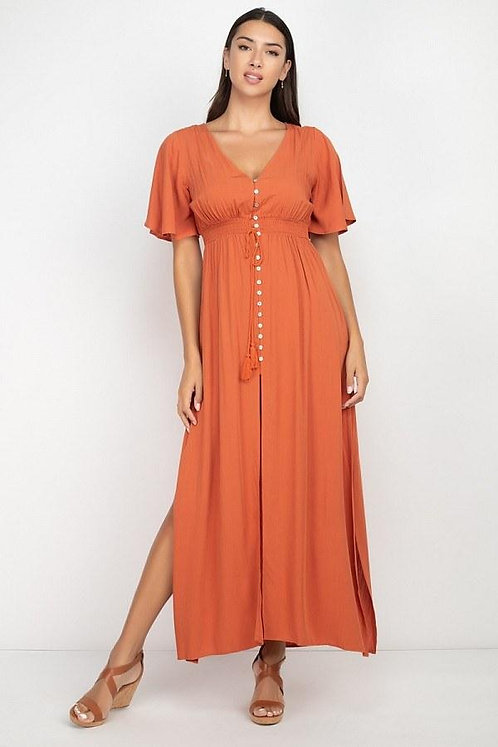 Solid Side Slit Smocked Waist Maxi Dress