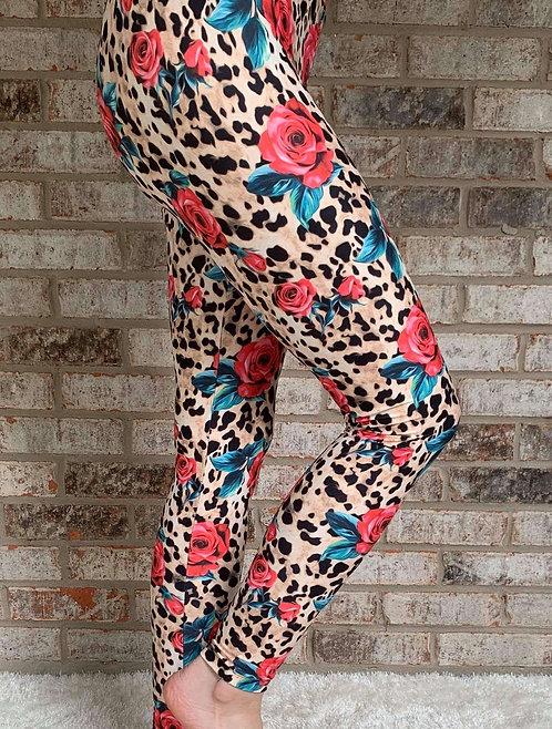 Leopard & Roses Leggings