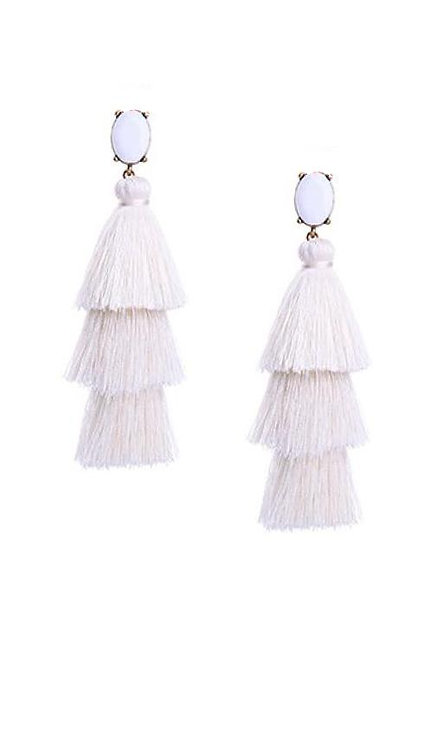 Crystal Layered Tassel Earrings | More Colors Available