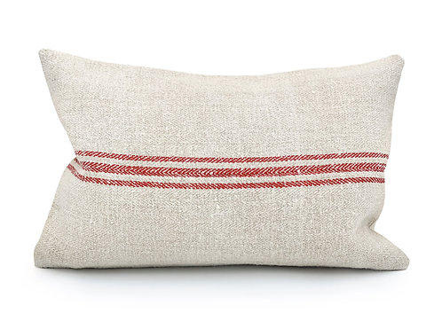 Vintage grain sack Three Red Stripes Pillow Cover