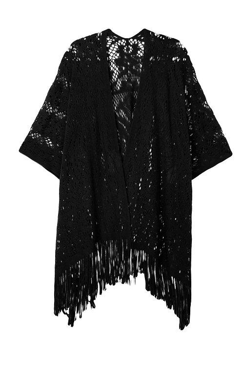 Delicately Fringed Crochet Kimono in Black