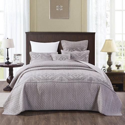 DaDa Bedding Elegant Fair Isle Purple Grey Yarn Dyed Quilted Bedspread Set