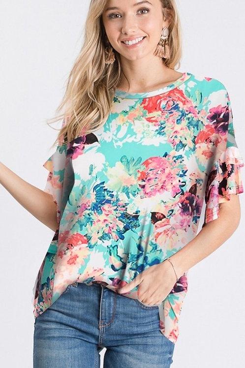 Melissa Mint Floral Top