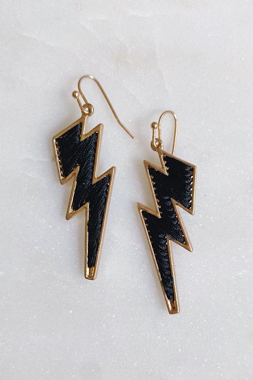 Threaded Bolt Earrings, Black