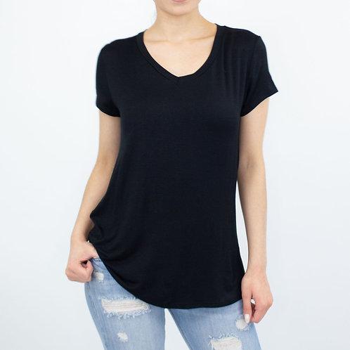 Basic Short Sleeve Solid Top - Black