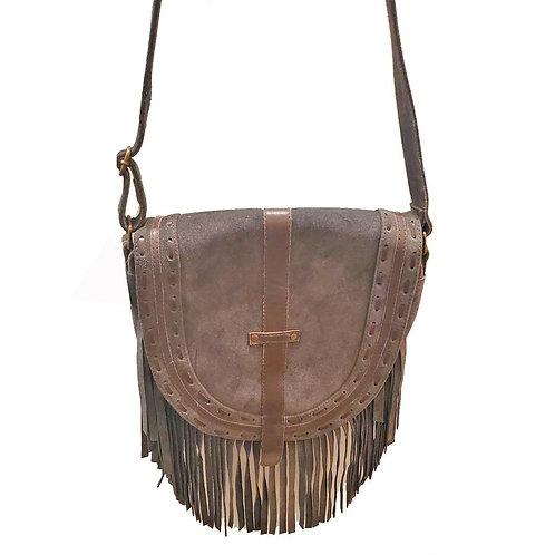 Leather Boho Fringe Suede Tassel Crossbody Bag with Adjustable