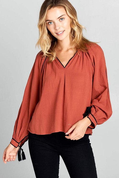 V-Neck Long Sleeve Linen Top