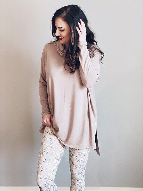 Mocha Cowl Neck Sweater