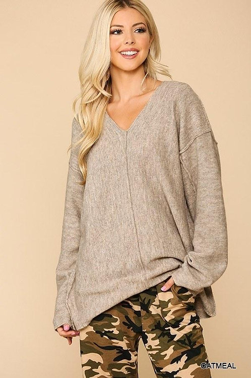 Long Sleeves V neck Solid Soft Women's Sweater Top