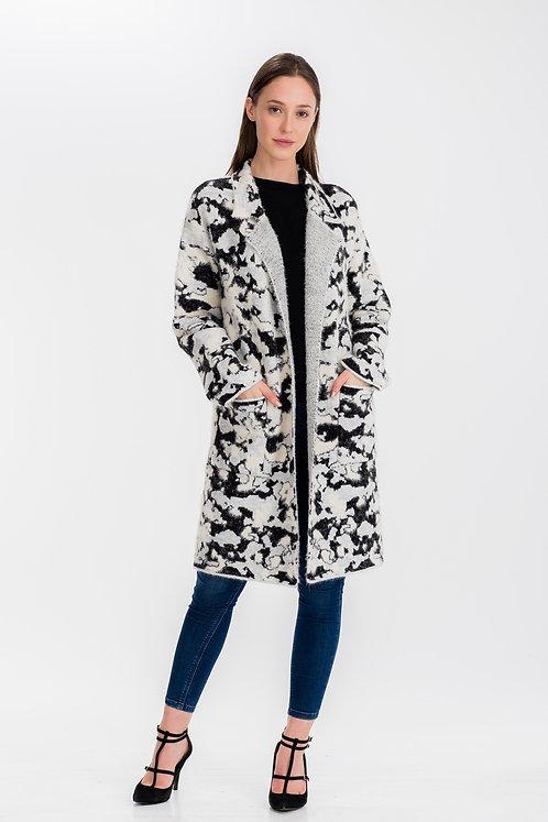 Womens Floral Camo Long Coat Gray