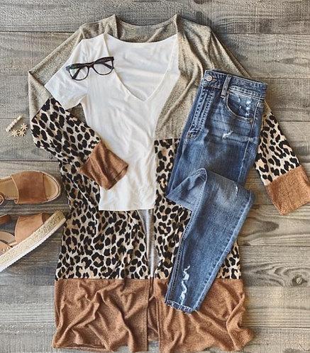 Jungle Colorblock Leopard Cardigan