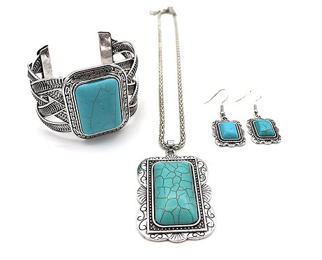 Bold Three Piece Antique Silver and Turquoise Set