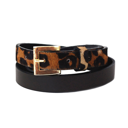 Sophia Genuine Leather & Cowhide Belt -Brown