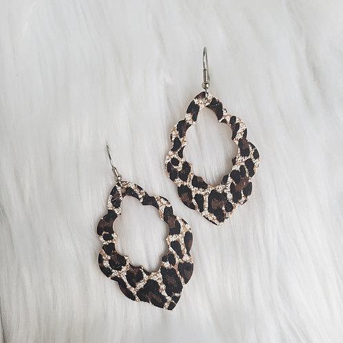 Chocolate Cheetah Cork Scalloped Leather Earrings