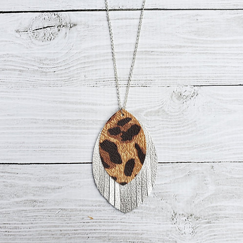 Tan Cheetah and Silver Fringe Necklace