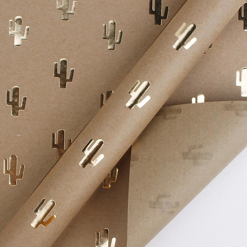 Cactus Gold Foil Kraft Wrapping Paper Sheets