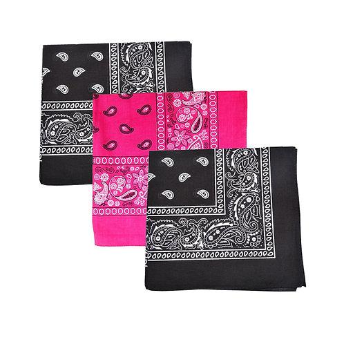 Set of 3 Mechaly Paisley 100% Cotton Black & Hot Pink Vegan Bandanas
