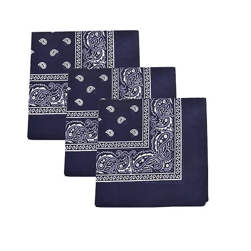 Set of 3 Mechaly Paisley 100% Cotton Blue Vegan Bandanas