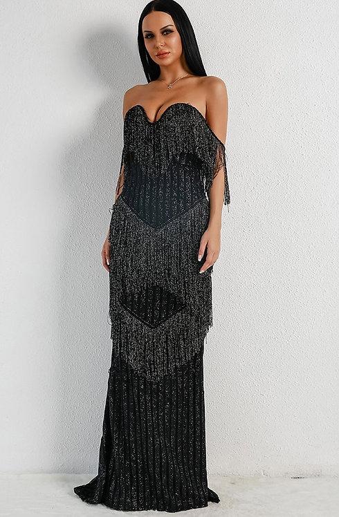 Black Fringe Evening Gown
