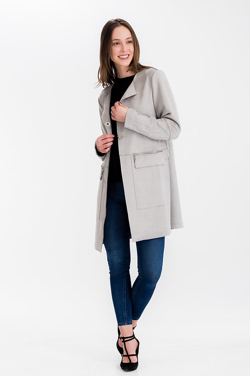 Womens Faux Suede Clasp Closure Jacket