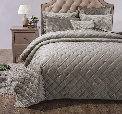DaDa Bedding Velveteen Double Sided Quilted Coverlet Bedspread Set, Taupe Grey