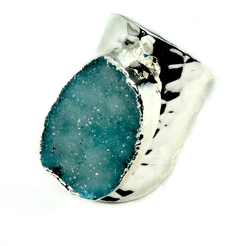 Amy Druzy Statement Ring in Silver-Teal