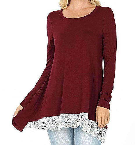 Lace Hem Round Neck Hi-Lo Top, Long Sleeve S - 3XL (8 Colors)
