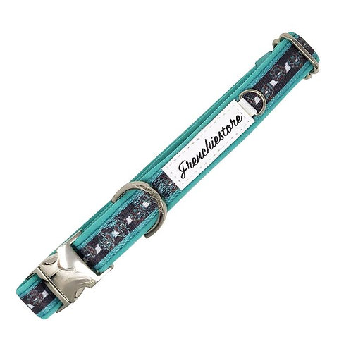 Frenchiestore Breakaway Dog Collar   Frenchie Love in Teal