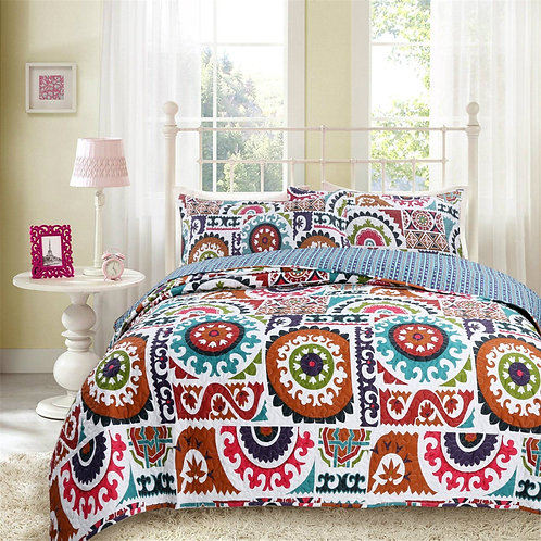 DaDa Bedding Bohemian Floral Wildfire Gardens Colorful Quilted Bedspread Set
