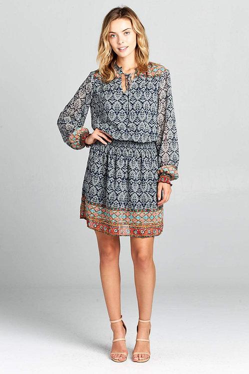 Print Long Sleeve Waist Cinched Dress