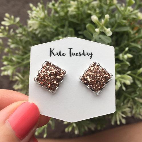 Light Rose Gold Square Druzy Earrings