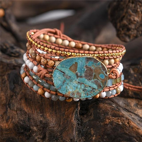 Genuine Leather Wrap Beaded Bracelet with Turquoise Stone