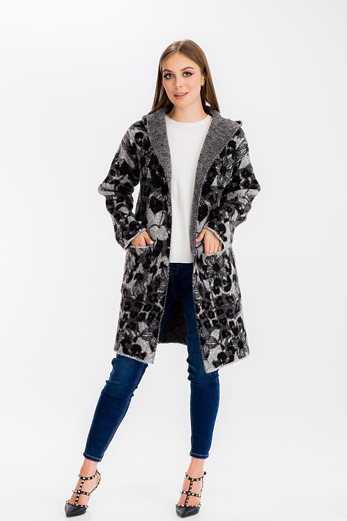Womens Floral Camo Hoodie Long Coat