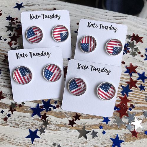 American Flag Earrings 4th of July
