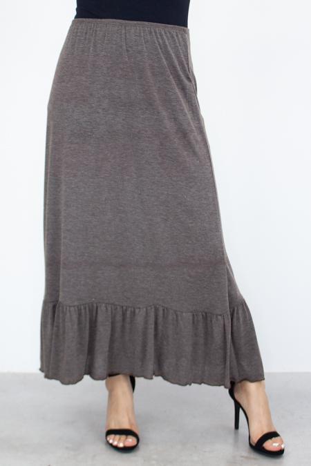 Flared Bottom Solid Long Skirt - Brown