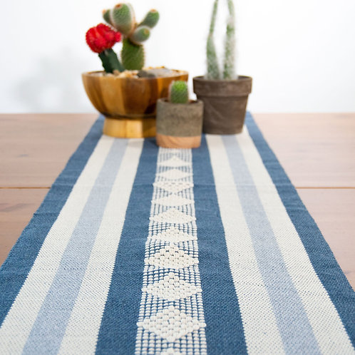 Diamond Geometric Table Runner. Blue