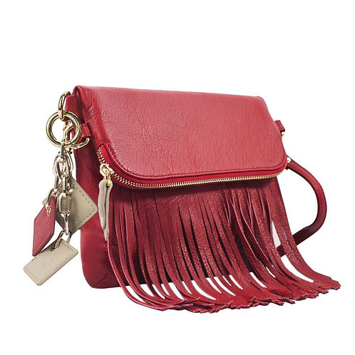 Flamingo Leather Fringe Handbag- Scarlet Red
