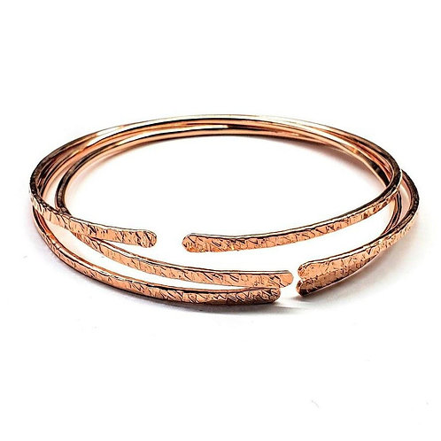 3-Pack 12 Gauge Copper Hammered Open Bangle