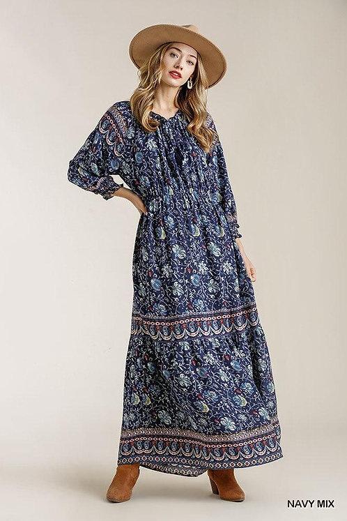 Paisley Print Ruffle Cuff Sleeve Elastic Waist Maxi Dress