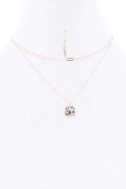 Layered Chain Metal Square Marbling Stone Pendant Necklace