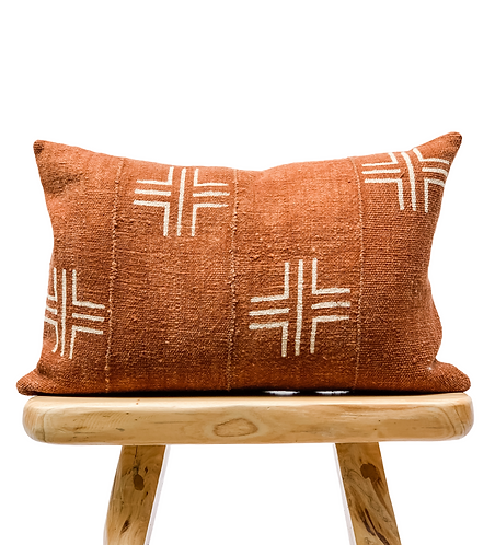 Mudcloth White Crosses on Rust brown Lumbar Pillow Cover