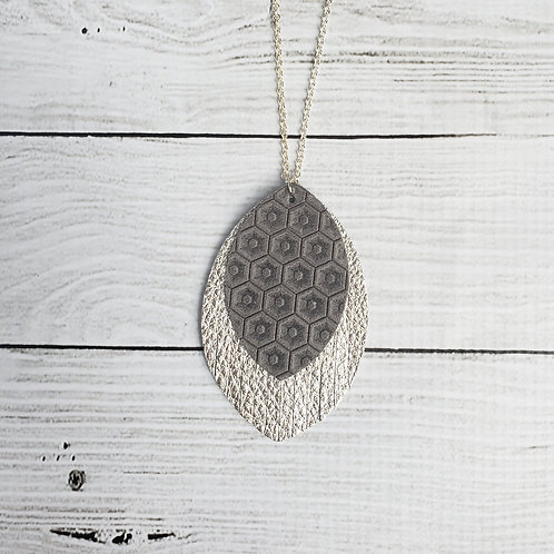 Grey Honeycomb and Silver Fringe Necklace