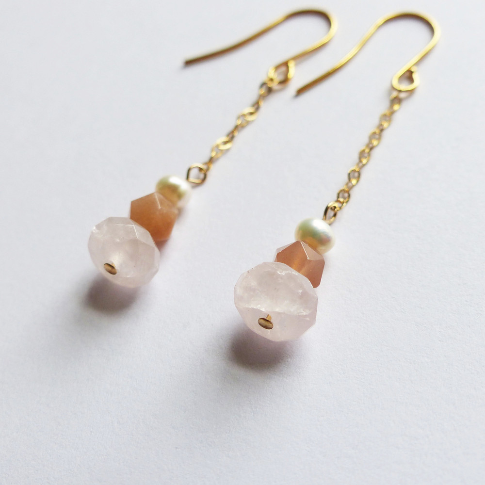 Rose-inspired earrings made with rose quartz, peach moonstone, and freshwater pearl on 14k gold