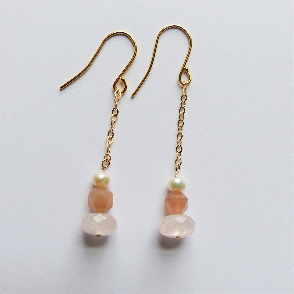 Rose quartz, peach moonstone, and freshwater pearl earrings, inspired by roses!