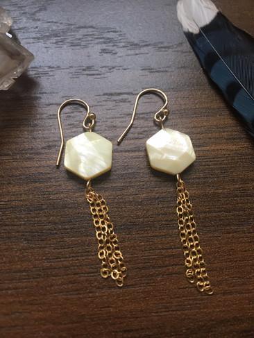 hexagon shell and gold tassel earrings.J